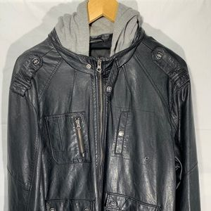 Guess leather jacket w/ hoodie size XL